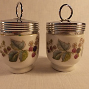 A Pair of Royal Worcester Lavenia Egg Coddlers
