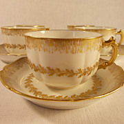 15 Piece Set of  Haviland and Company Gold and White Tea Set