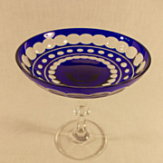 Cobalt Blue and Clear Crystal Compote