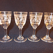 4 Etched Crystal Cordial With the Fleur de Lis