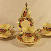 4 Crown Ducal Gainsborough Demi-Tasse Cups and Saucers