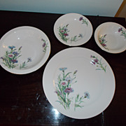 Sone China Sonson 77 Coupe Shape Lavender and White Floral 38 Pieces