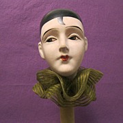 SOLD Deco papier mache PIERROT hat stand