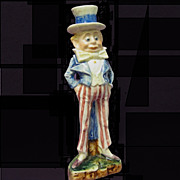 Palmer Cox Brownie Uncle Sam Majolica candlestick