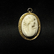 SOLD Etched 10K Gold framed Cameo Pin/Pendant