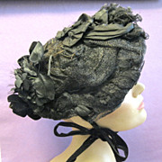 Black Victorian Toque Bonnet