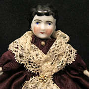 Wee Gowned China Doll with Fichu