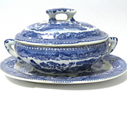 Mini Toy China Blue Willow Tureen, Underplate