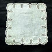 Brocade Band Lace-edged Wedding Hanky