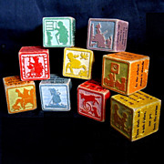 Old Silhouetted Nursery Rhyme Wood Blocks