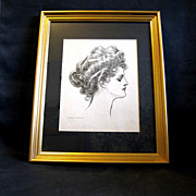 Framed Original 1903 Gibson Girl Portrait