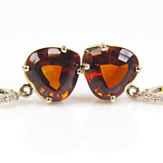SALE Citrine Diamond Earrings - Heart Shaped Diamond Earrings - Madeira Citrine Diamond Earrin