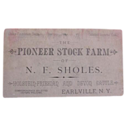 Vintage Trade Card for Pioneer Stock Farm of N. F. Sholes, Earlville, N. Y.
