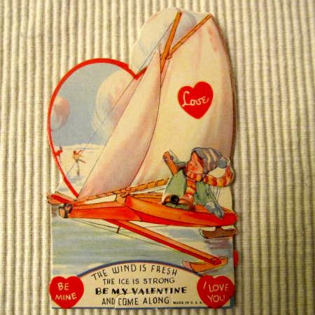 Vintage mechanical valentine Ice Sailboat