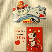 Vintage Valentines - an Airplane and a police dog on a bicycle