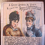 Trade card Scovill's sarsaparilla and Stillingia or Blood & Liver Syrup folding card