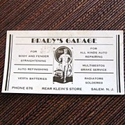 Brady's Garage blotter advertisement Salem N.J. auto repair