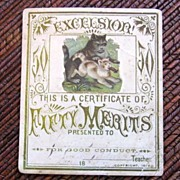 1890 Victorian School Merits card