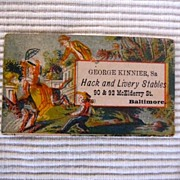 Antique trade card,  Hack and Livery Stables advertisement, Baltimore, George Kinnier, funeral