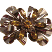 Nice Sterling Silver Ribbon and Topaz Crystal Stones Bow Brooch