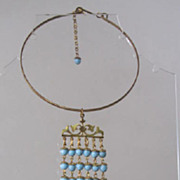 Vintage 50s Blue Glass Beads Bib Choker Dangle Necklace Czechoslovakia