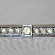 Art Deco Bar Pin Brooch Czechoslovakia 1930s  Rhinestones and Crystals