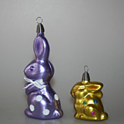 2 Bunnies Hand Blown Glass Easter Ornaments CHRISTBORN Germany