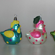 REDUCED 3 Designer Blown Glass Easter Ornaments Germany CHRISTBORN