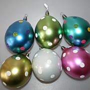 6 Huge Blown Glass Decorated Easter Eggs CHRISTBORN Germany Ornaments