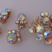 Czech Vintage Crystal Aurora Borealis Brooch Pin and Earrings