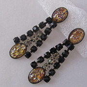 Vintage Black and Smoke Rhinestone Earrings Czechoslovakia