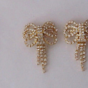 Festive Vintage Diamond Rhinestone Bows Designer Earrings Czechoslovakia