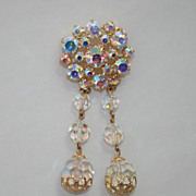 Great Czech Vintage Rhinestone Aurora Borealis Crystals Brooch Pin w. Dangly Pendant