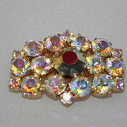 Beautiful Sparkly Aurora Borealis Rhinestone Vintage Pin BRooch