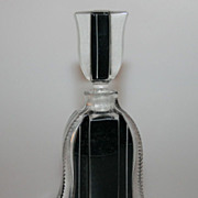 Art Deco 1920's Czech Black Cut Glass Perfume Flacon Bottle
