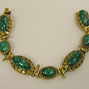 REDUCED Wonderful Vintage 1930 Green Cabochon Estate Link Bracelet