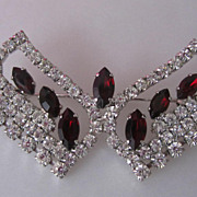 Clear and Ruby Red Crystal Rhinestone Butterfly Vintage Brooch Pin