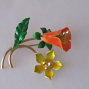 Vintage 50s Enamel Flower Brooch Orange Yellow Leaf