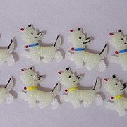 SOLD Lot of 8  Vintage Celluloid Pins Scottie Terrier glowing in dark