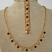 Vintage 1950s Garnet SET Necklace & Bracelet in Goldtone