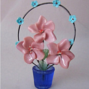 Art Deco Czech Glass Flowers Vintage Handmade Decoration