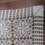Vintage Large Hand Crochet Tablecloth Doily Czechoslovakia