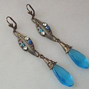 SALE Antique Vintage Rhinestone Blue Glass Long Earrings Czechoslovakia
