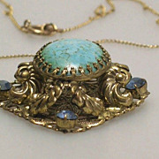 Unusual Art Deco Pendant Necklace Turquoise Cabochons 1930s Italian Jewelry