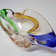 MSTISOV Fabulous Vintage 1950s Czech Colorful Glass Bowl  Designed by ZEMEK