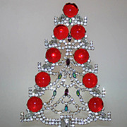 Fantastic Ultra Sparkly 7&quot; Table Top Christmas Tree Huge Stones Czech Vintage Decoration