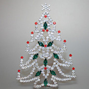 Super Spark 6&quot; Table Top Vintage Christmas Tree Czech Rhinestones Crystals