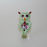 REDUCED Green Rhinestone OWL Vintage Pin Brooch w. Dangles Czechoslovakia