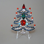 Czech Vintage Rhinestone Candle Christmas Tree Vintage Pin Brooch
