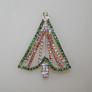 Rhinestone Dangly Garland Vintage Christmas Tree Pin